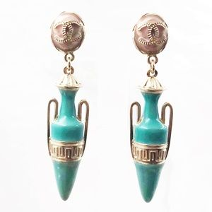 Chanel New CC Pink Turquoise Greek Amphora Earring